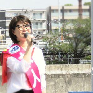 「雇用守り最賃上げよう」あさか由香、職場門前で宣伝